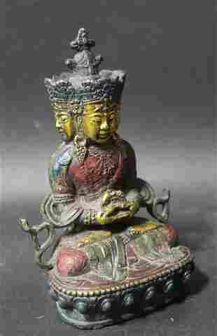 20th C. Tibetan Painted Bronze Buddha