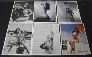 (6) Bettie Page Photos. (2) Sgd.