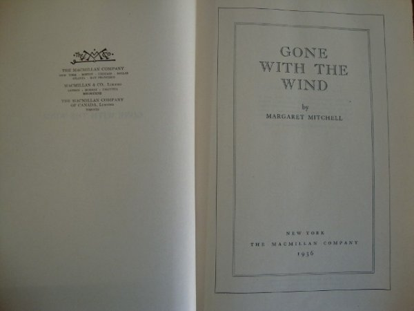 239: GONE WITH THE WIND  1936 FIRST EDITION BOOK - 4