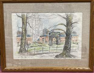 William J. Glackens; American Drawing Washington Square