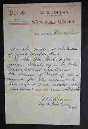 9th C Handwritten Letter Miles City Montana