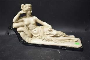 Antique Parian Sculpture Reclining Lady