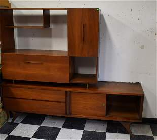 Mid-Century Modern Wall Unit with Drop Down Bar