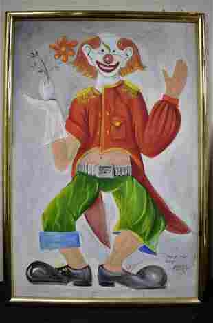 American Vintage Oil Painting on Canvas of a Clown