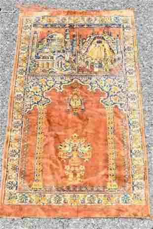 Anatolian Silk Pictorial Prayer Rug