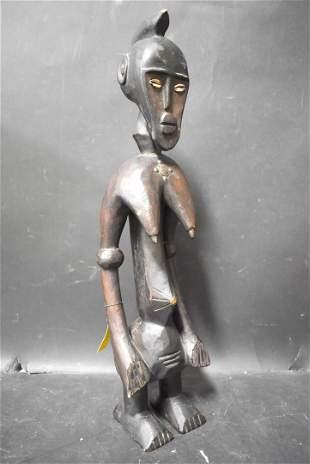 Metal Embellished African Senufo Figure