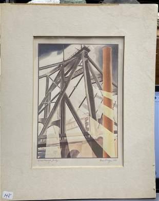 Elsie Driggs, 1927; Lithograph Queensboro Bridge