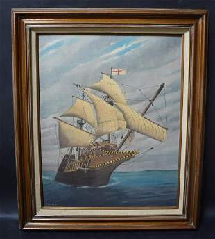 Clipper Ship Painting on Board Sgd.