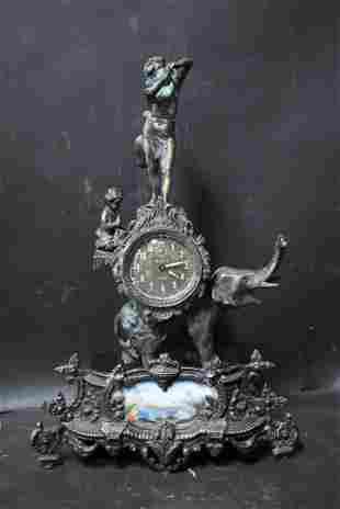 Victorian Bronze Figural Mantle Clock