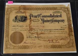 Wyatt Earp's Stock Certificate Pearl Mining Co.