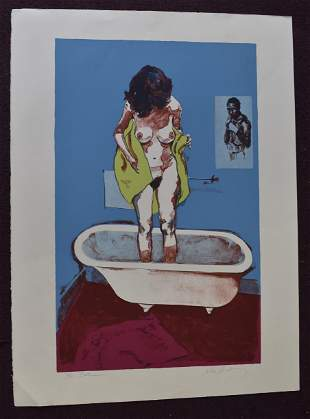 """Bath"" John Hardy Sgd. Litho"