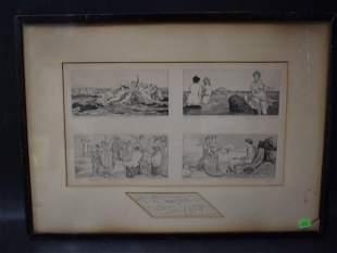 Max Klinger Dry Point Etching Scenes of Venus