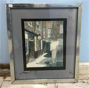 London Street Scene Watercolor. Sgd Plant.