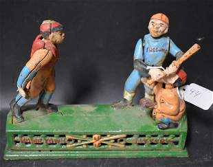 Mechanical Cast Iron Bank-Baseball
