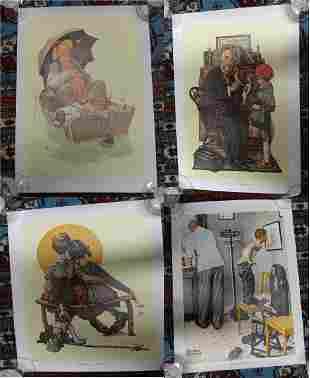 Norman Rockwell 1970s Linen Back Prints (4)