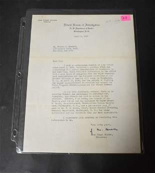 J. Edgar Hoover Letter w/ Sig.