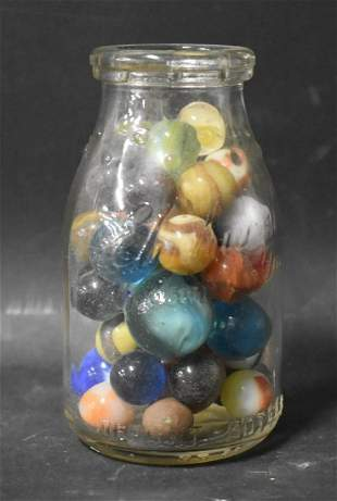 Antique Marbles in Old Cream Jar