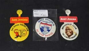 Advertising Pinback & Aunt Jemima Clip Pins (3)
