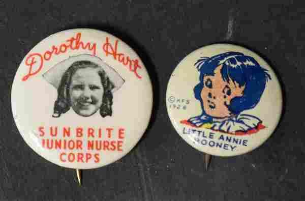 1928 Little Annie Rooney Pinback & A Second