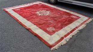 Antique Room Size Chinese Red Carpet