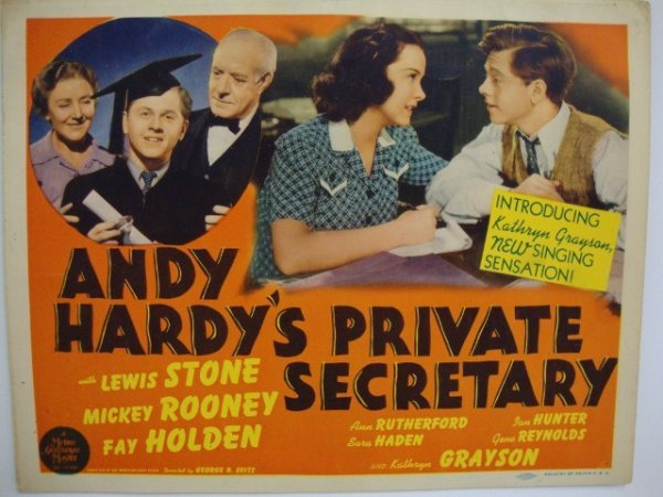 ANDY HARDY'S PRIVATE SECRETARY MOVIE CARDS