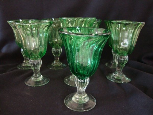 14: EIGHT HAND BLOWN WATER GOBLETS