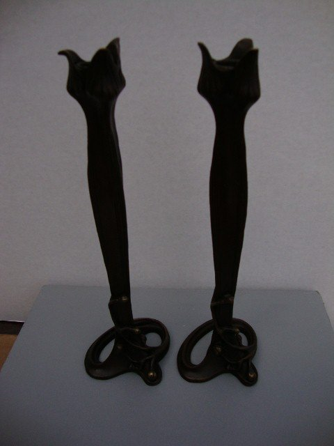 17: TWO BRONZE ARTS & CRAFTS STYLE CANDLESTICKS