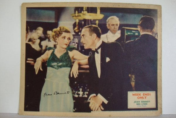 SIGNED JOAN BENNETT LOBBY CARD