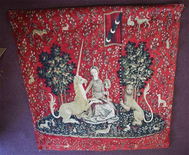 Antique Red Silk Tapestry