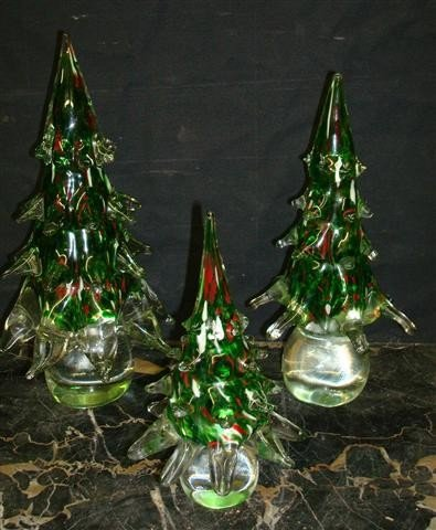 8A: THREE(3) ITALIAN GLASS TREES