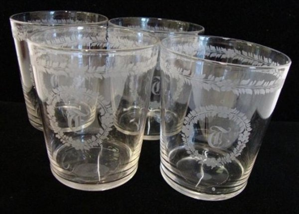 13A: FOUR(4)CRYSTAL TUMBLERS