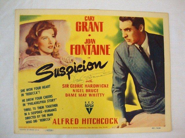 116: SUSPICION LOBBY CARD SGD. JOAN FONTAINE