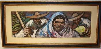 1136: DAVID SIQUEIROS;MEXICAN GOUACHE PAINTING SIGNED