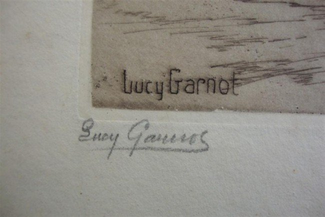 1243: LUCY GARNOT PENCIL SIGNED ETCHING - 2