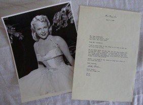 3: PEGGY LEE PORTRAIT AND LETTER