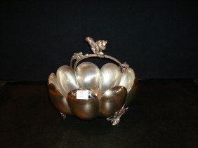 PAIRPOINT FIGURAL SILVERPLATE NUT DISH