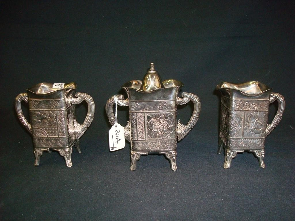 20A: THREE PIECE VICTORIAN SILVER PLATED COFFEE SET