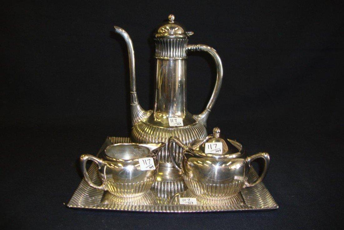 117: AMERICAN VICTORIAN SILVER PLATE COFFEE SERVICE