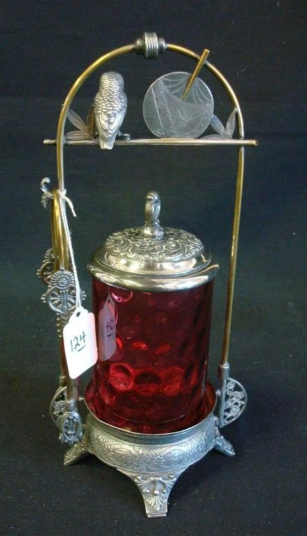 124: VICTORIAN PICKLE CASTOR WITH CRANBERRY INSERT