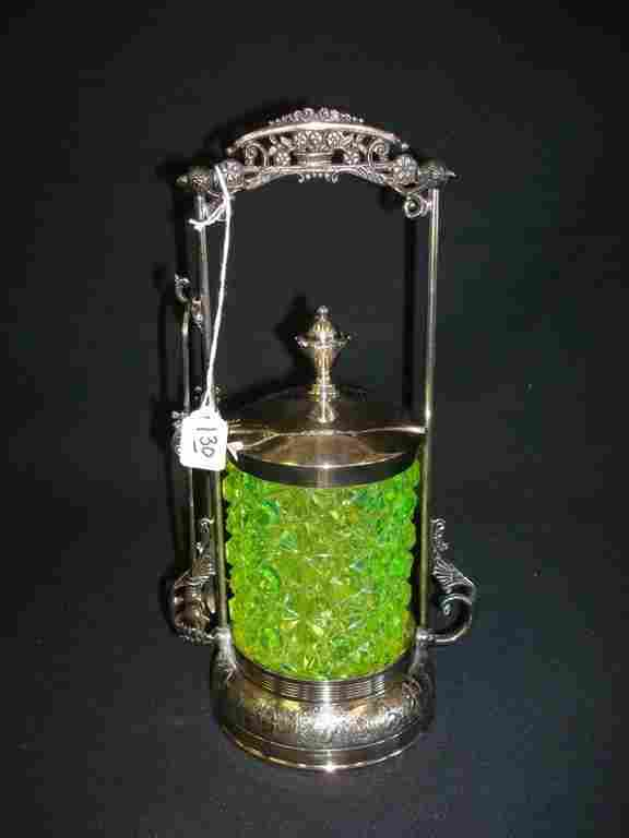 130: VICTORIAN PICKLE CASTOR WITH YELLOW CUT GLASS INSE