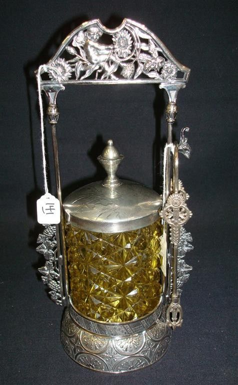 VICTORIAN PICKLE CASTOR WITH AMBER CUT GLASS INSER