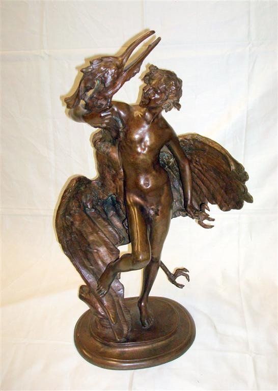774: BRONZE BOY WITH AN EGRET SGD. MACMONNIES