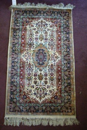 PERSIAN SILK DOUBLE ENDED PRAYER RUG