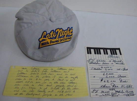 14: LATE NIGHT WITH DAVID LETTERMAN HAT & 2 NOTES