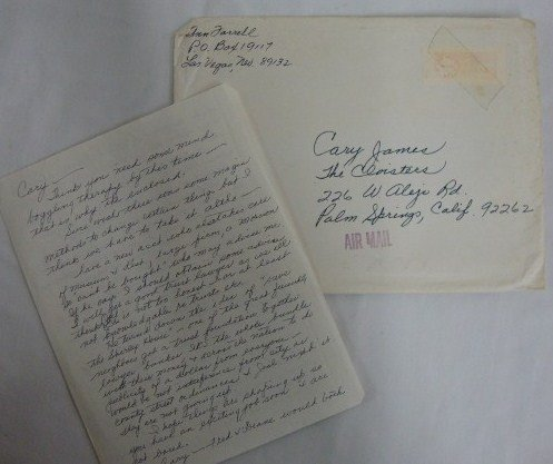 18: LETTER TO CARY JAMES FROM ANGIE LIBERACE