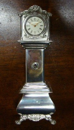 139: STERLING SILVER MINIATURE - TALL CASE CLOCK