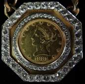 219A TEN DOLLAR GOLD COIN NECKLACE  WITH DIAMONDS