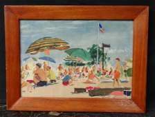 101 DICK LOOMIS GOUACHE PAINTING SIGNED