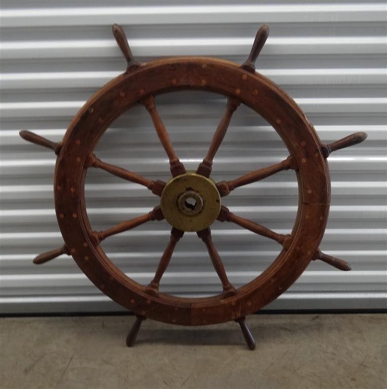 393: EARLY MAHOGANY SHIP'S WHEEL