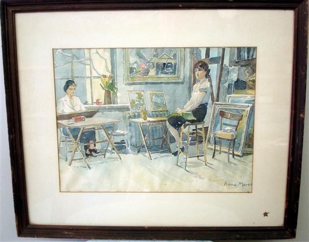 3A: Anna Morse; American watercolor, Artist Studio